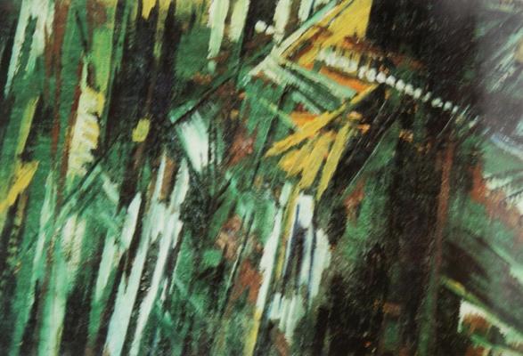 Михаил Федорович Ларионов. «Улица с фонарями» 1910-е Мешковина