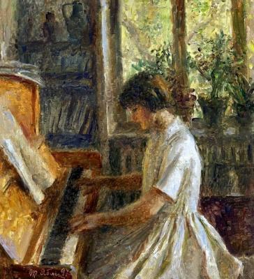 Tetyana Yablonska. Granddaughter playing the piano