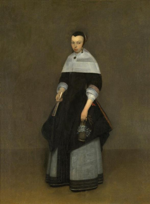 Gerard Terborch (ter Borch). Portrait of a lady (Girl with a fan and a basket)