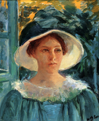 Mary Cassatt. Young woman in green outdoors in the sun