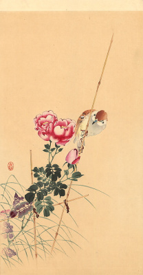 Охара Косон. Розовые цветы
