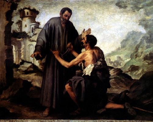 Bartolomé Esteban Murillo. Brother Juniper and the beggar