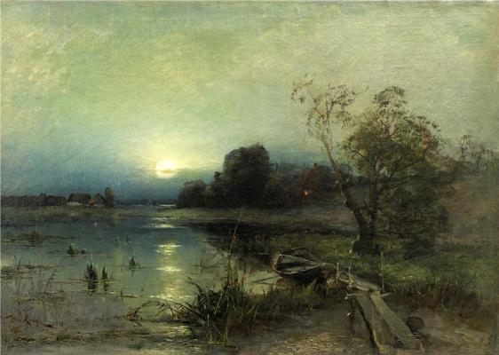 Julius Klever. Evening landscape with boat