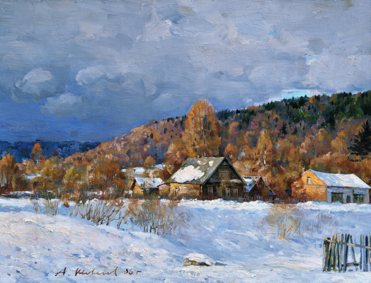 Alexander Victorovich Shevelyov. Winter house Zorina.Oil on canvas 29 # 37,7 cm 2006