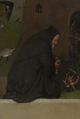 Hieronymus Bosch. The crucified Martyr. Fragment of the left leaf of a triptych (St. Anthony prayer)