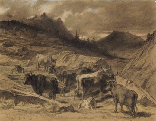 Роза Бонёр. Стадо коров в Оверни