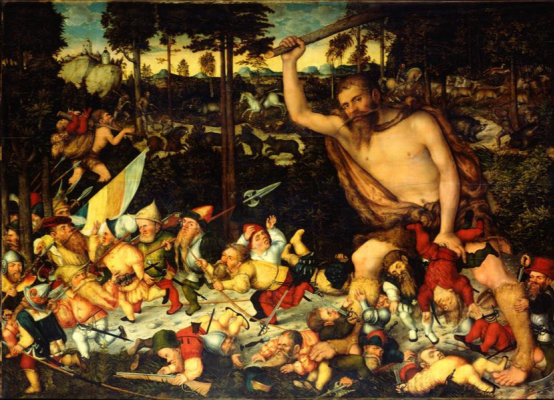 Lucas the Younger Cranach. Awakened Hercules expels the pygmies. Dresden Gallery.