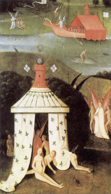 Hieronymus Bosch. Paradise. The left panel of the triptych of the lost judgment. Fragment