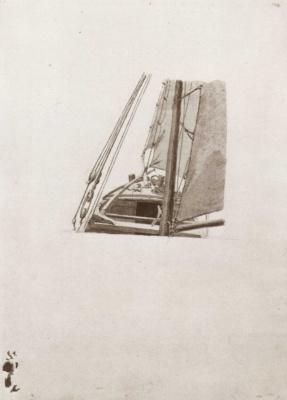 Caspar David Friedrich. Sketch of a sailboat nose