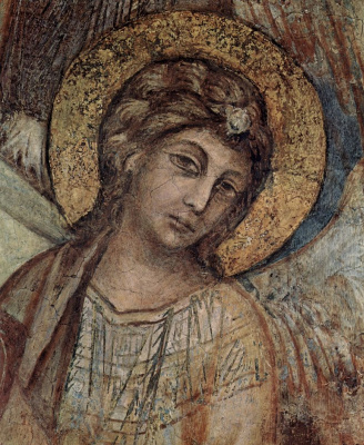 Cheney di Pepo Cimabue. The frescoes of the lower Church of San Francesco in Assisi, the right nave, scene: Madonna enthroned, four angels and St. Francis, detail