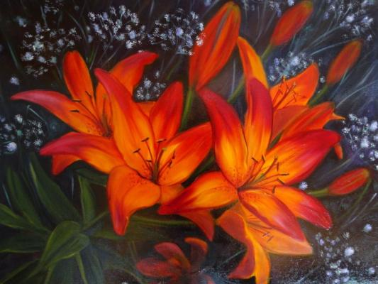 Victoria Fedorovna Humanenko. Lilies in the garden