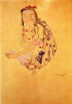 Oskar Kokoschka. Girl with a red bow