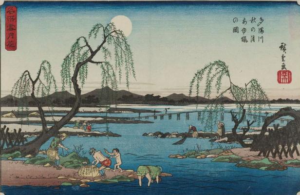 Utagawa Hiroshige. Trout fishing on the river Tama in the moonlit autumn night