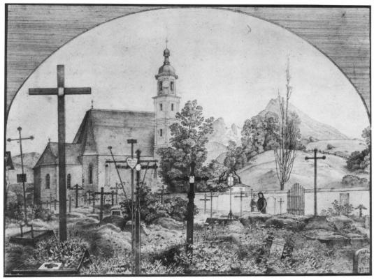 Фердинанд Оливье. Кладбище Францисканской церкви в Берхтесгадене в епископстве Зальцбург