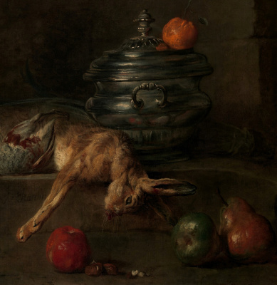 Jean Baptiste Simeon Chardin. Still life with silver Turin. Fragment. Turin, poultry and fruits