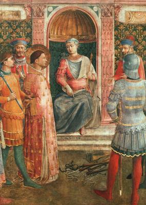Фра Беато Анджелико. Осуждение святого Лаврентия императором Валерианом. Фреска капеллы Никколина