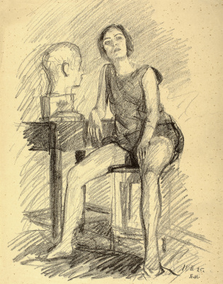 Petr Vasilyevich Miturich. Seated model