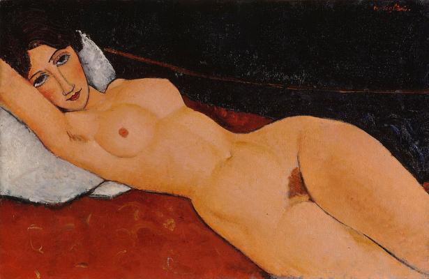 Amedeo Modigliani. Nude on a white pillow