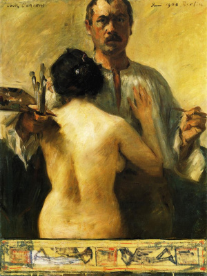 Lovis Corinto. Self-portrait with model