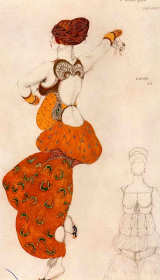 "Lev Samoilovich Bakst (Leon Bakst). Odalisque. Costume design for the ballet ""Scheherazade"""