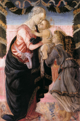Sandro Botticelli. Madonna and child with an angel