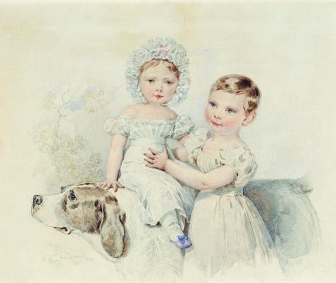 Александр Павлович Брюллов. Девочки с собакой. Первая половина XIX века