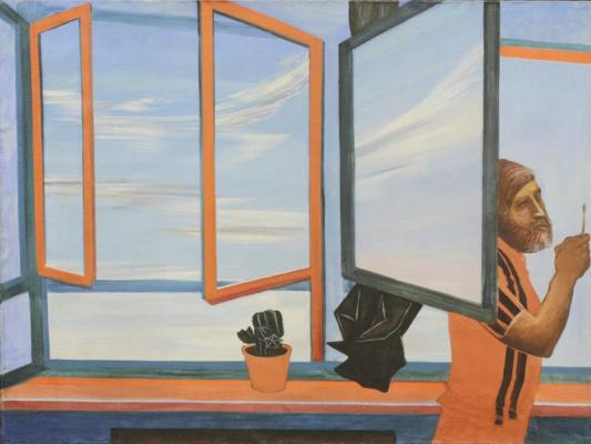 Vitaliy Georgievich Smagin. Self portrait on a window background