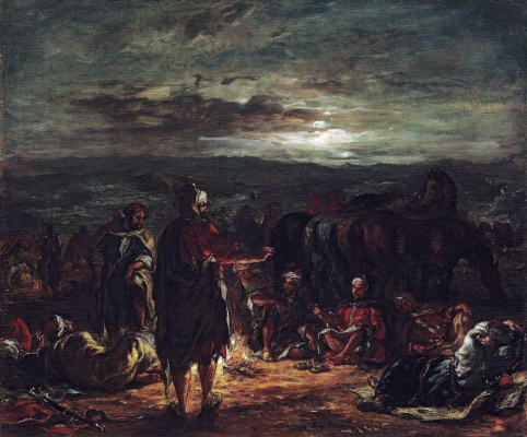 Eugene Delacroix. Arab encampment in the night