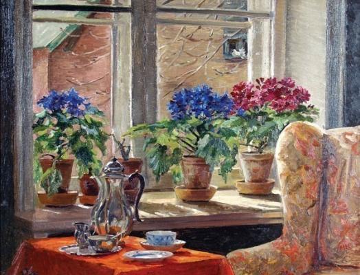 Ольга Александровна Романова. Комната с цветами, столом, накрытым к чаю, и голубком за окном