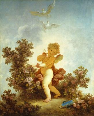 "Jean Honore Fragonard. Love the guardian. From series of paintings ""Love adventure"""