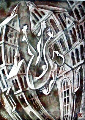 "Vladimir Kataev. ""Adaptation -1"", linocut, 72 X 50 cm, 2014"