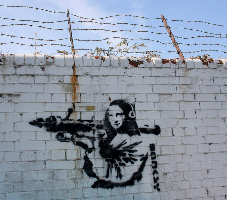 Banksy. Mona Lisa with Bazooka