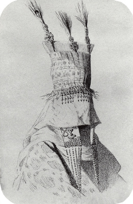 Outfit the Kirghiz bride with a hat covering the face