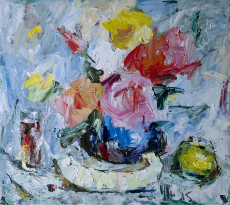 Yuri Leonardovich Uzhdavini. Flowers wine melon and Apple.