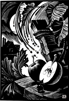 "Vladimir Kataev. ""A house on the shore – 2"", linocut, 65 X 45 cm, 2014"
