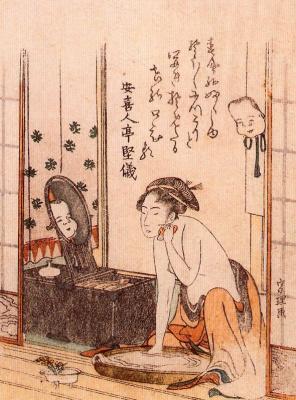 Katsushika Hokusai. In the bathroom