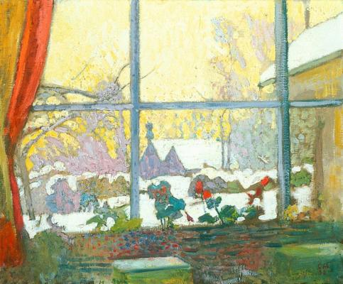 Cuno Amiè. Geranium and winter landscape outside the window