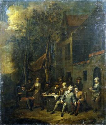 Ян Баптист Ламбрехтс. Сцена у кабачка