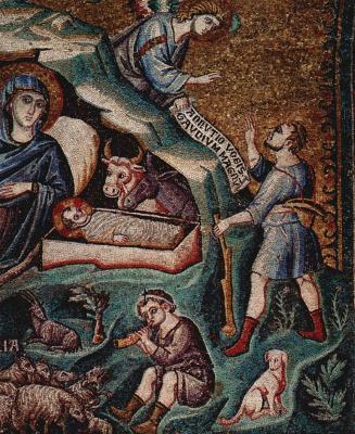 Pietro Cavallini. The birth of Christ, detail