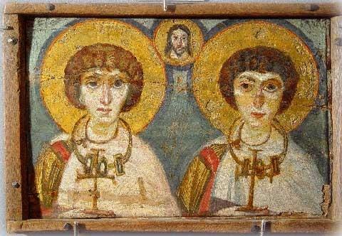 Византийская Икона. Святые Сергий и Вакх