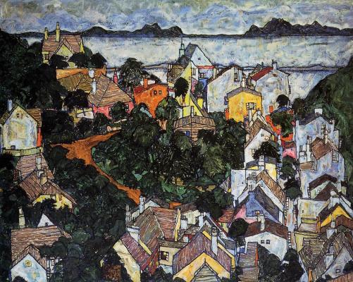 Egon Schiele. Krumau. Summer landscape