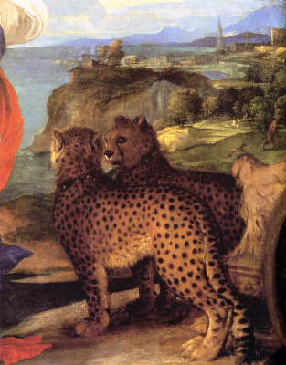 Titian Vecelli. Bacchus and Ariadne. Fragment 1. A wagon pulled by cheetahs