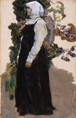 "Mikhail Vasilyevich Nesterov. A girl in a black sundress. Study for the painting ""Soul of the people"""