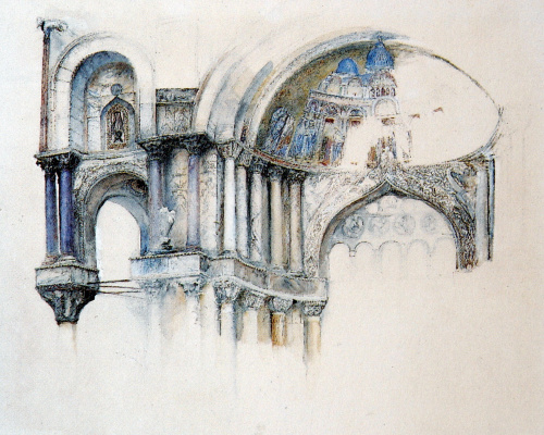 John Ruskin. Northwest Porch of the Cathedral of St. Mark, Venice