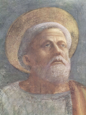 Tommaso Masaccio. Saint Peter in the pulpit. Fragment