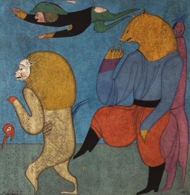 Михаил Шемякин. Карнавал в Санкт-Петербурге, лев и медведь .1977