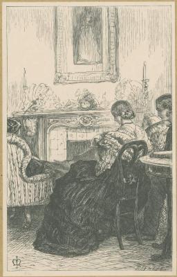 John Everett Millais. Living room. Illustration for the works of Anthony Trollope