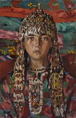 Дурды Байрамович Байрамов. Portrait of Mergen. A girl with Turkmen ornaments.