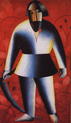 Kazimir Malevich. Reaper on red background