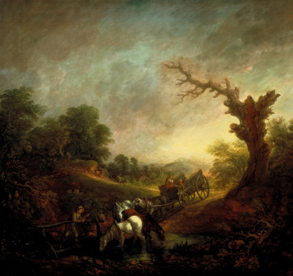 Thomas Gainsborough. Sunset and horses at the watering